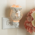 Reflection Glass Pluggable Fragrance Warmer plugged in powerpoint displayed next to flowers