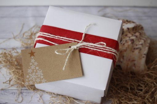 Gift Box White with Red Ribbon and Christmas Tree Gift Tag