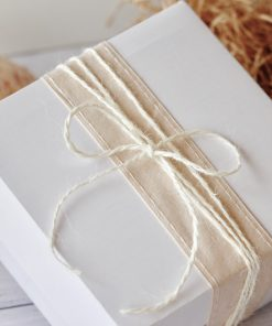 Gift Pack White Box displayed with ribbon and twine