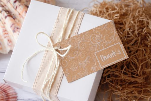 Gift Pack White Box displayed with ribbon and twine and thanks gift tag 2