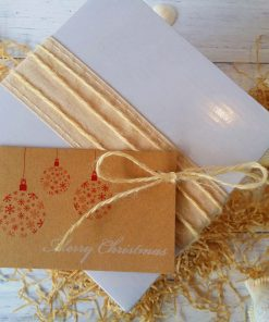 Gift Pack White Box displayed with natural ribbon and Merry Christmas Red Baubles gift tag