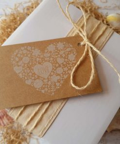 Gift Pack White Box displayed with ribbon and twine and love heart gift tag