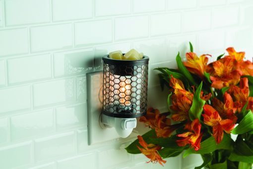 Chicken Wire Pluggable Fragrance Warmer plugged into powerpont